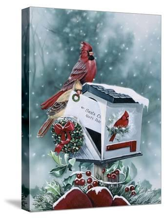 Christmas Cardinals-Jenny Newland-Stretched Canvas Print