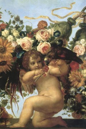 Cherub and Parrot--Stretched Canvas Print