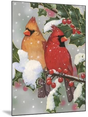 Cardinal Couple with Holly-William Vanderdasson-Mounted Giclee Print