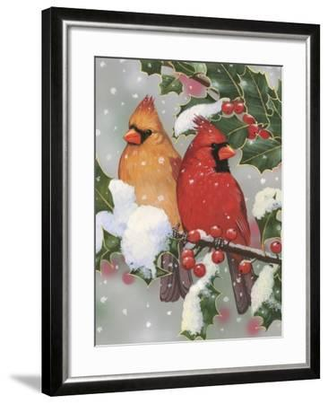 Cardinal Couple with Holly-William Vanderdasson-Framed Giclee Print