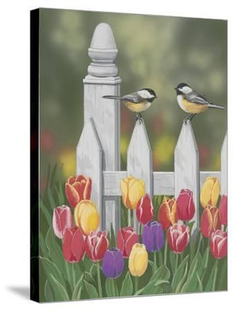 Chickadees and Tulips-William Vanderdasson-Stretched Canvas Print
