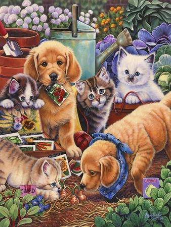 Helpful Garden Paws-Jenny Newland-Stretched Canvas Print