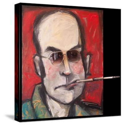 Hunter S Thompson with Cig Black-Tim Nyberg-Stretched Canvas Print