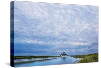 View near Fortified Town during Low Tide, Mont Saint Michel, Lower Normandy, France-Massimo Borchi-Stretched Canvas Print