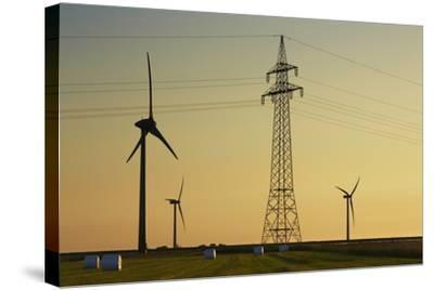 Wind Energy Plant and Power Pole-Frank Krahmer-Stretched Canvas Print