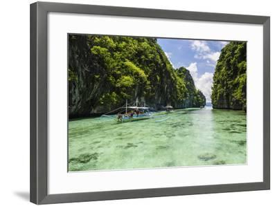Outrigger Boats in the Crystal Clear Water in the Bacuit Archipelago, Palawan, Philippines-Michael Runkel-Framed Photographic Print