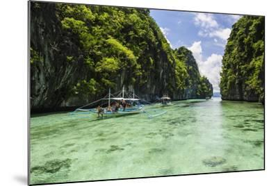 Outrigger Boats in the Crystal Clear Water in the Bacuit Archipelago, Palawan, Philippines-Michael Runkel-Mounted Photographic Print