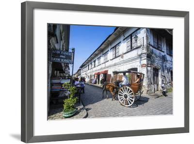 Horse Cart Riding Through the Spanish Colonial Architecture in Vigan, Northern Luzon, Philippines-Michael Runkel-Framed Photographic Print