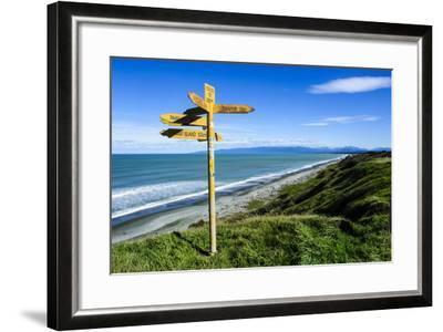 Signpost on Te Waewae Bay, Along the Road from Invercargill to Te Anau, South Island-Michael Runkel-Framed Photographic Print