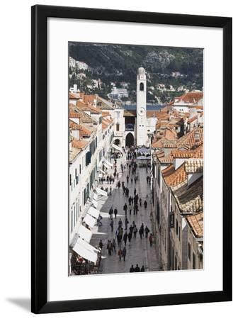 View Down Stradun, UNESCO World Heritage Site, Dubrovnik, Croatia, Europe-Jean Brooks-Framed Photographic Print