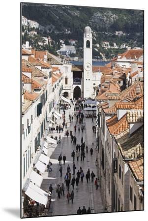 View Down Stradun, UNESCO World Heritage Site, Dubrovnik, Croatia, Europe-Jean Brooks-Mounted Photographic Print