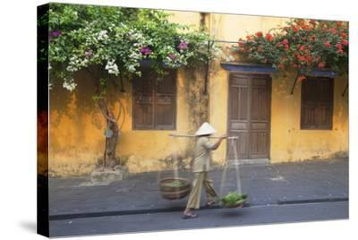 Woman Carrying Vegetables in Street, Hoi An, Quang Nam, Vietnam, Indochina, Southeast Asia, Asia-Ian Trower-Stretched Canvas Print