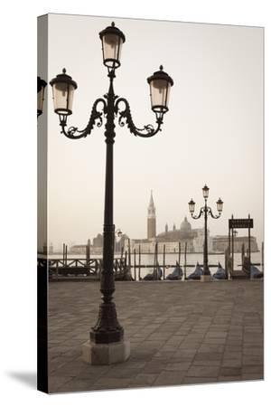 Gondolas Moored on the Lagoon, San Giorgio Maggiore Beyond, Riva Degli Schiavoni-Amanda Hall-Stretched Canvas Print