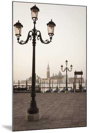 Gondolas Moored on the Lagoon, San Giorgio Maggiore Beyond, Riva Degli Schiavoni-Amanda Hall-Mounted Photographic Print