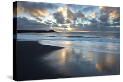 Looking Towards the North Atlantic at Sunrise from the Black Volcanic Sand Beach at Vik I Myrdal-Lee Frost-Stretched Canvas Print