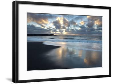 Looking Towards the North Atlantic at Sunrise from the Black Volcanic Sand Beach at Vik I Myrdal-Lee Frost-Framed Photographic Print
