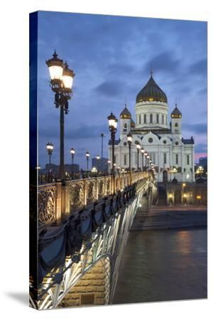 Bridge over the River Moscova and Cathedral of Christ the Redeemer at Night, Moscow, Russia, Europe-Martin Child-Stretched Canvas Print