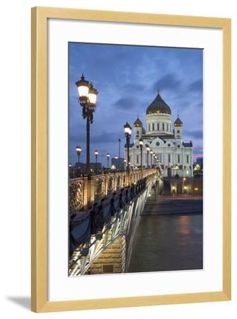 Bridge over the River Moscova and Cathedral of Christ the Redeemer at Night, Moscow, Russia, Europe-Martin Child-Framed Photographic Print