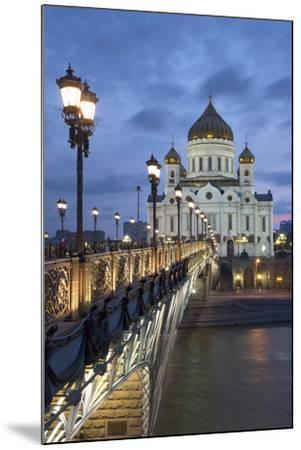 Bridge over the River Moscova and Cathedral of Christ the Redeemer at Night, Moscow, Russia, Europe-Martin Child-Mounted Photographic Print
