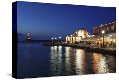 Lighthouse at Venetian Port and Turkish Mosque Hassan Pascha at Night, Chania, Crete-Markus Lange-Stretched Canvas Print