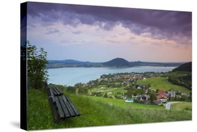 Elevated View over Picturesque Weyregg Am Attersee Illuminated at Dawn, Attersee, Salzkammergut-Doug Pearson-Stretched Canvas Print