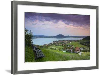 Elevated View over Picturesque Weyregg Am Attersee Illuminated at Dawn, Attersee, Salzkammergut-Doug Pearson-Framed Photographic Print