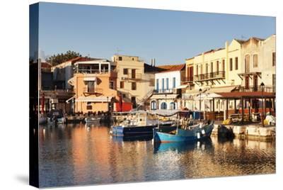 Old Venetian Harbour, Taverns on Seaside, Rethymno (Rethymnon)-Markus Lange-Stretched Canvas Print