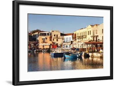 Old Venetian Harbour, Taverns on Seaside, Rethymno (Rethymnon)-Markus Lange-Framed Photographic Print