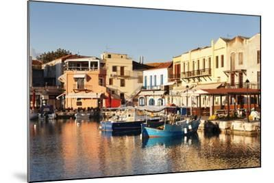 Old Venetian Harbour, Taverns on Seaside, Rethymno (Rethymnon)-Markus Lange-Mounted Photographic Print