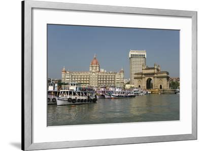 Gateway of India on the Dockside Beside the Taj Mahal Hotel, Mumbai, India, Asia-Tony Waltham-Framed Photographic Print