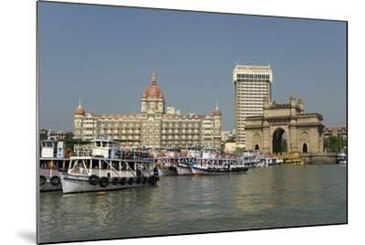 Gateway of India on the Dockside Beside the Taj Mahal Hotel, Mumbai, India, Asia-Tony Waltham-Mounted Photographic Print