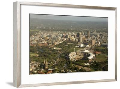 Air View of Downtown Adelaide, South Australia, Australia, Pacific-Tony Waltham-Framed Photographic Print