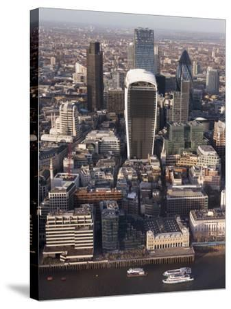 Aerial London Cityscape Dominated by Walkie Talkie Tower, London, England, United Kingdom, Europe-Charles Bowman-Stretched Canvas Print