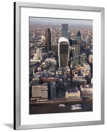 Aerial London Cityscape Dominated by Walkie Talkie Tower, London, England, United Kingdom, Europe-Charles Bowman-Framed Photographic Print