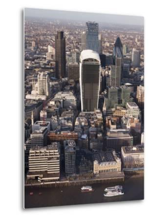 Aerial London Cityscape Dominated by Walkie Talkie Tower, London, England, United Kingdom, Europe-Charles Bowman-Metal Print