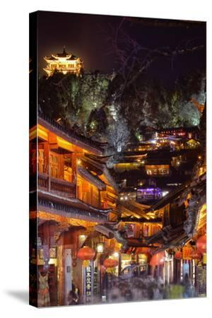 Busy Lijiang Old Town, at Night with Lion Hill and Wan Gu Tower, Lijiang, Yunnan, China, Asia-Andreas Brandl-Stretched Canvas Print