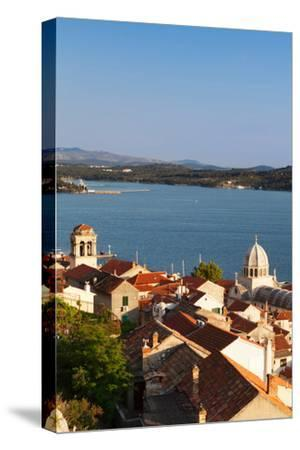 High Angle View of a Cathedral in a Town on the Coast, Sibenik Cathedral, Sibenik, Dalmatia--Stretched Canvas Print