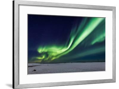 Aurora Borealis or Northern Lights, Iceland, Power Lines by the Jokulsarlon--Framed Photographic Print