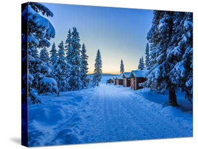 Empty Road Close to the Icehotel, Jukkasjarvi, Lapland Sweden--Stretched Canvas Print
