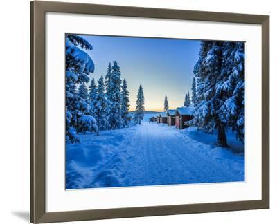Empty Road Close to the Icehotel, Jukkasjarvi, Lapland Sweden--Framed Photographic Print
