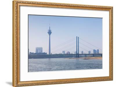 Rheinturm Tower and Rheinkniebrucke Bridge, Dusseldorf, North Rhine Westphalia, Germany--Framed Photographic Print