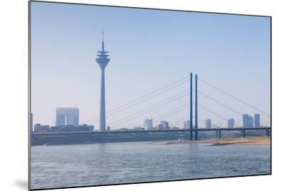 Rheinturm Tower and Rheinkniebrucke Bridge, Dusseldorf, North Rhine Westphalia, Germany--Mounted Photographic Print
