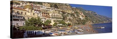 Houses in the Village on a Hill, Spiaggia Di Marina Grande, Positano, Amalfi Coast, Italy--Stretched Canvas Print