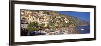Houses in the Village on a Hill, Spiaggia Di Marina Grande, Positano, Amalfi Coast, Italy--Framed Photographic Print