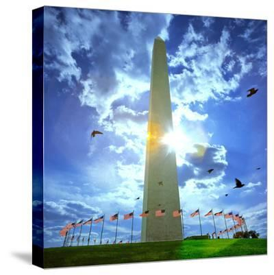 Low Angle View of the Washington Monument, the Mall, Washington Dc, USA--Stretched Canvas Print