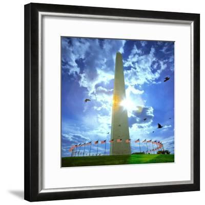 Low Angle View of the Washington Monument, the Mall, Washington Dc, USA--Framed Photographic Print
