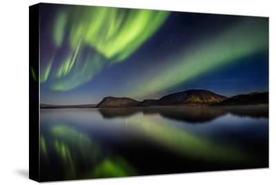 Aurora Borealis or Northern Lights at Lake Thingvallavatn, Thingvellir National Park--Stretched Canvas Print