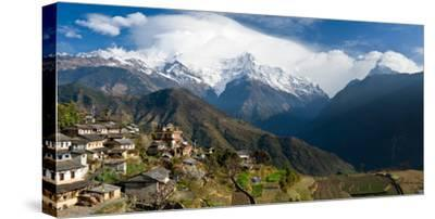Houses in a Town on a Hill, Ghandruk, Annapurna Range, Himalayas, Nepal--Stretched Canvas Print