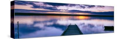 Reflection of Clouds on Water, Chesil Beach, Portland, Dorset, England--Stretched Canvas Print
