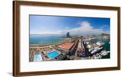 High Angle View of Harbor, Barcelona, Catalonia, Spain--Framed Photographic Print
